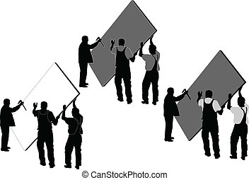 illustration of workers in action - vector