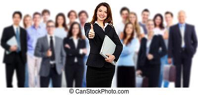 workers., vrouw, groep, zakelijk