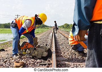 Workers were cutting tracks for maintenance. - Workers were...
