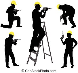 workers with drill silhouettes