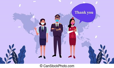 workers with thank you doctors message campaign ,4k video animation