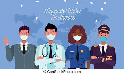 workers with together we are invincible message campaign ,4k video animation
