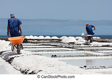 Workers with wheelbarrow at salt extraction La Palma, Canary Islands