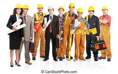 workers - young smiling architects. Isolated over white ...