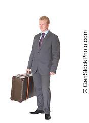 workerwith, オフィス, スーツケース, 2, 若い, 古い