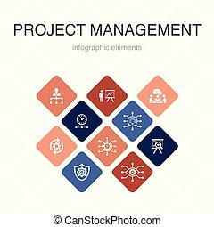 workflow, apresentação, ícones, cor, reunião, design., ...