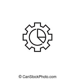 Workflow chart icon in flat style. Gear with diagram vector illustration on white isolated background. Process organization business concept.