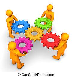 Workflow Five Gears - Orange cartoon characters with...
