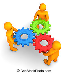 Workflow Gears - Orange cartoon characters with multicolored...