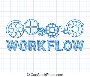 Workflow Graph Paper - Workflow text with gear wheels hand...