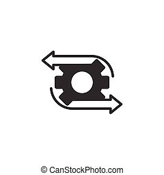 Workflow icon in flat style. Gear effective vector illustration on white isolated background. Process organization business concept.
