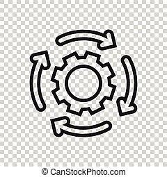 workflow, ikone, ausrüstung, wohnung, organisation, vektor, weißes, abbildung, effektiv, prozess, style., hintergrund., freigestellt, geschaeftswelt, concept.