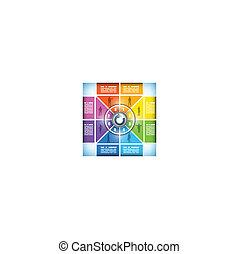 workflow, kleurengrafiek, acht, het veranderen, toneel