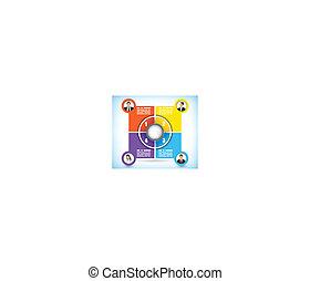 workflow, kleurengrafiek, vier, het veranderen, toneel