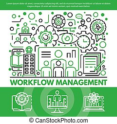 Workflow management concept background, outline style