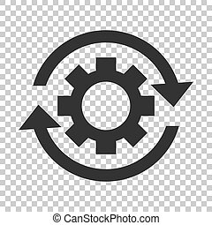 Workflow process icon in flat style. Gear cog wheel with arrows vector illustration on isolated background. Workflow business concept.