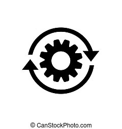 Workflow process icon in flat style. Gear cog wheel with arrows vector illustration on white isolated background. Workflow business