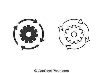 Workflow process line icon set in flat style. Gear cog wheel with arrows vector