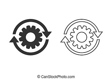Workflow process line icon set in flat style. Gear cog wheel with arrows vector illustration on white isolated background. Workflow business concept.