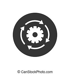 Workflow process white icon in flat style. Gear cog wheel with arrows vector illustration on gray isolated background. Workflow business