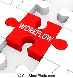 workflow, rompecabezas, exposiciones, proceso, flujo, o,...