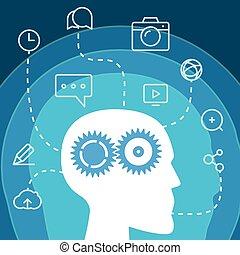 workflow., social, media, begrepp