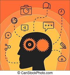 workflow., sozial, medien, begriff