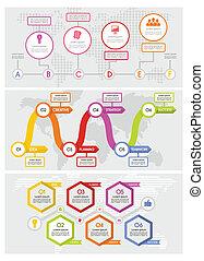 Workflow timeline banner concept set, flat style