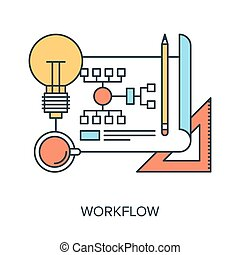 Vector illustration of workflow flat line design concept.
