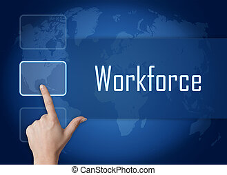 Workforce concept with interface and world map on blue ...
