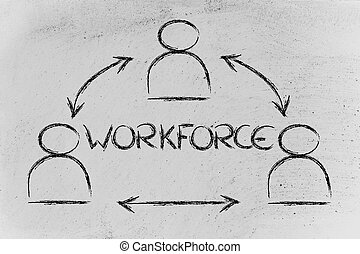 workforce, design with group of collaborative co-workers - ...