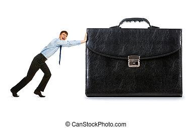 Workforce - Image of strong businessman pushing his big...