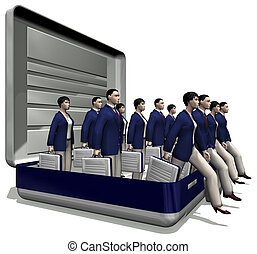 workforce POV 2 - isolated-on-white 3D cartoon of a group of...