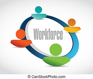 workforce team sign concept illustration design over white