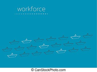 workforce with a folded paper boat