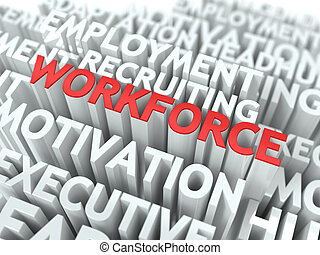 Workforce. Wordcloud Concept. - Workforce - Word in Red...