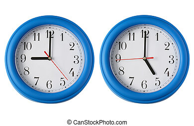 Working 9 to 5.  Two clocks, one on 9am and one on 5pm.