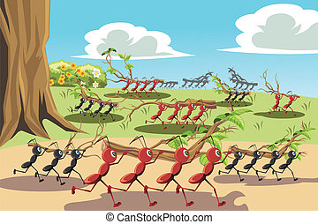 Working ants - A vector illustration of a colony of ants ...