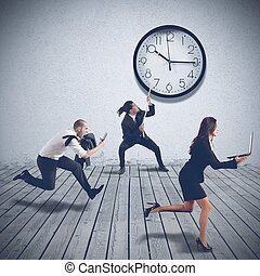 Working at full speed - Business people are working at full...