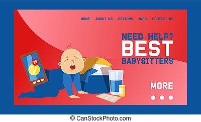 working., baby-sitters, conception, besoin, si, ringing., toile, occupé, aide, pleurer, enfantqui commence à marcher, kid., baby., clothes., téléphone, bannière, soin, illustration., mobile, prendre, vecteur, jeu mère