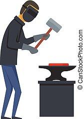 Working backsmith icon, flat style