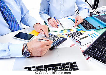 Working business group. - Hand with calculator. Finance and...