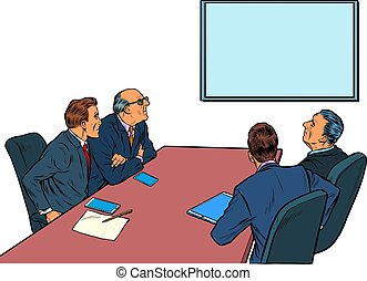 Working business meeting in the meeting room. Pop art retro illustration kitsch vintage 50s 60s style