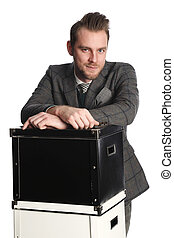 Working businessman with boxes