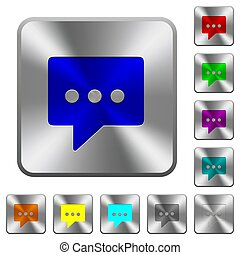 Working chat rounded square steel buttons