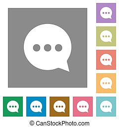 Working chat square flat icons