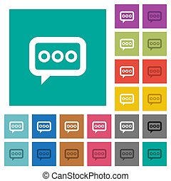 Working chat square flat multi colored icons