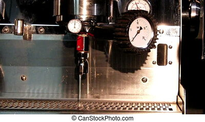 Working coffee machine, close-up