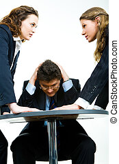 Working conflict - Image of business man fearing angry women...
