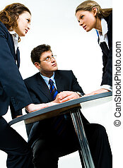 Working conflict - Image of business man looking at one of...